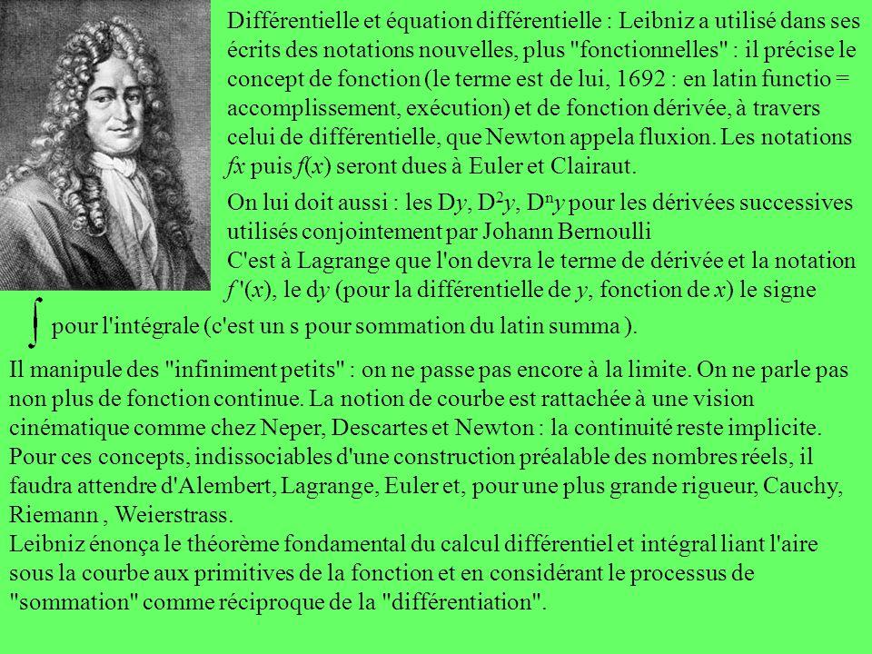 Différentielle et équation différentielle : Leibniz a utilisé dans ses écrits des notations nouvelles, plus