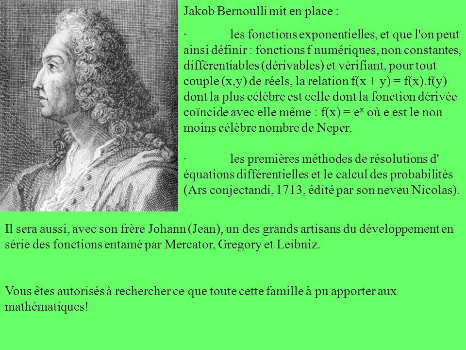 Il sera aussi, avec son frère Johann (Jean), un des grands artisans du développement en série des fonctions entamé par Mercator, Gregory et Leibniz. V