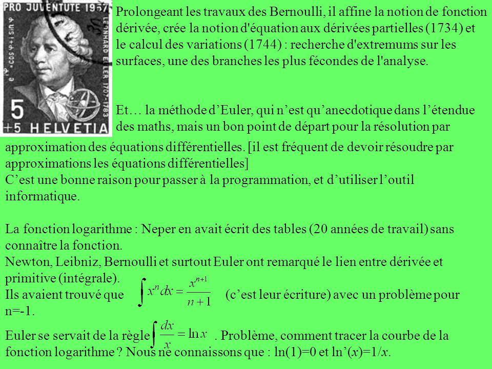 Prolongeant les travaux des Bernoulli, il affine la notion de fonction dérivée, crée la notion d'équation aux dérivées partielles (1734) et le calcul