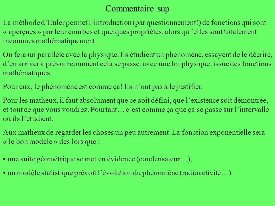 Commentaire sup La méthode dEuler permet lintroduction (par questionnement!) de fonctions qui sont « aperçues » par leur courbes et quelques propriété
