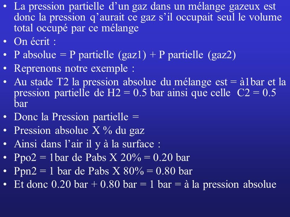 Explication La pression partielle dun gaz dans un mélange gazeux est donc la pression qaurait ce gaz sil occupait seul le volume total occupé par ce m