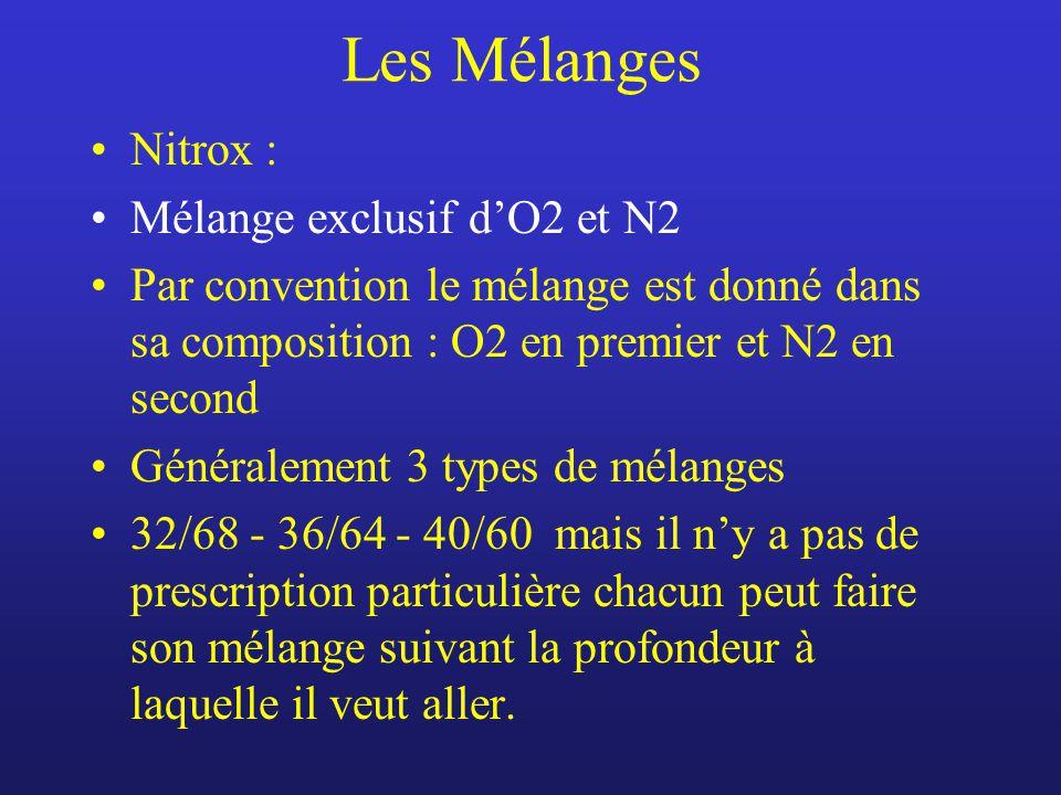 Les Mélanges Nitrox : Mélange exclusif dO2 et N2 Par convention le mélange est donné dans sa composition : O2 en premier et N2 en second Généralement