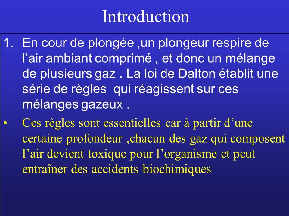 Introduction 1.En cour de plongée,un plongeur respire de lair ambiant comprimé, et donc un mélange de plusieurs gaz. La loi de Dalton établit une séri
