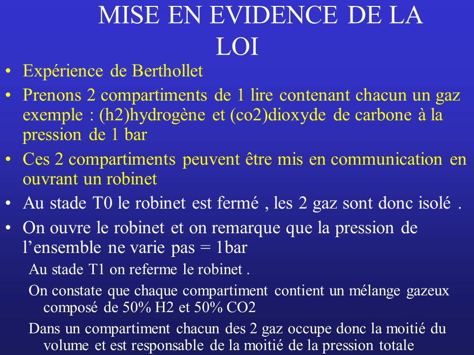 MISE EN EVIDENCE DE LA LOI Expérience de Berthollet Prenons 2 compartiments de 1 lire contenant chacun un gaz exemple : (h2)hydrogène et (co2)dioxyde