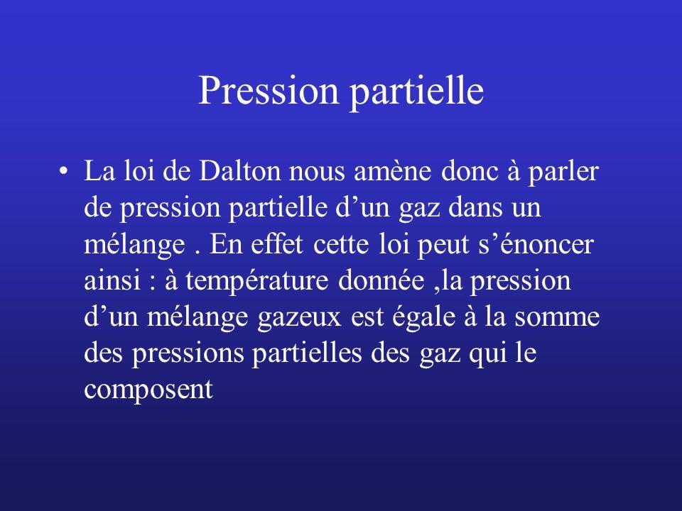 Pressions partielles par Mariotte : Un tonneau de 100 l 100 l dair 1 bar 80% N2 1 bar 20% O2 1 bar P1=V1, P= 0.8 bar de N2 0.2 bar dO2 POMPE N2 RESTE L O2 P2 =V2, P= 0.2 bar vide 100 l 100 l dair 100 l 02 Les molécules ont plus de place Mais elles sont toujours à la même pression