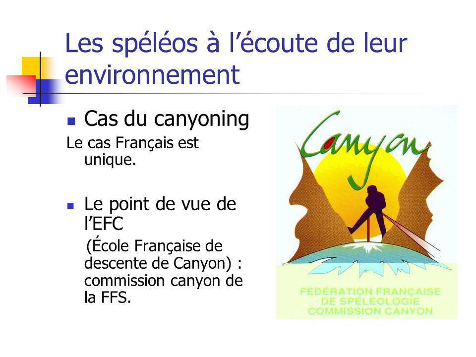 Les spéléos à lécoute de leur environnement Cas du canyoning Le cas Français est unique. Le point de vue de lEFC (École Française de descente de Canyo