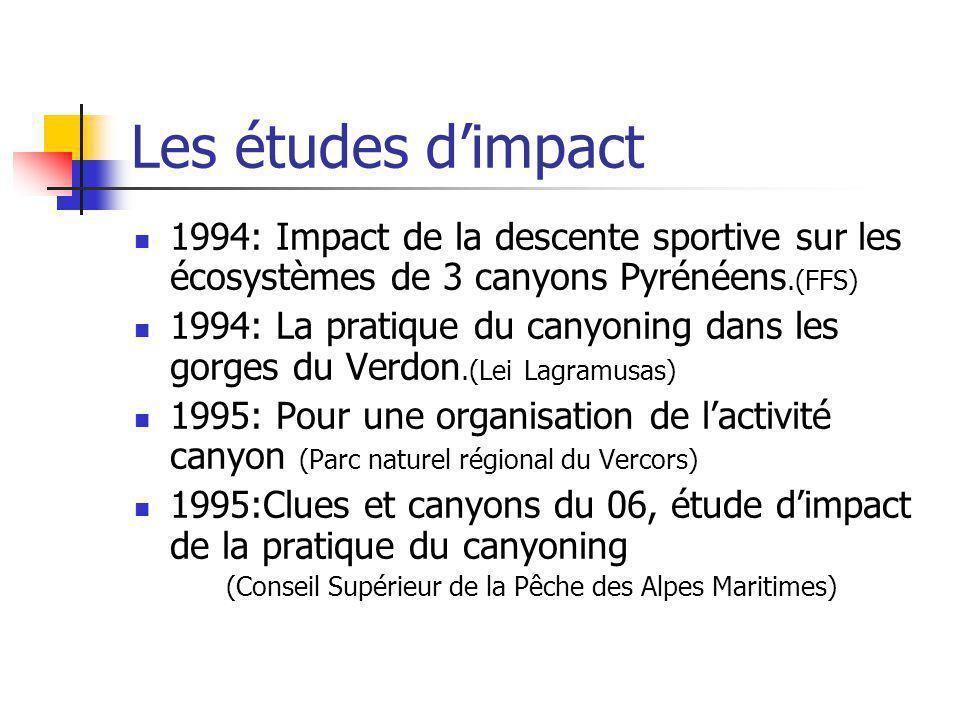 Les études dimpact 1994: Impact de la descente sportive sur les écosystèmes de 3 canyons Pyrénéens.(FFS) 1994: La pratique du canyoning dans les gorge