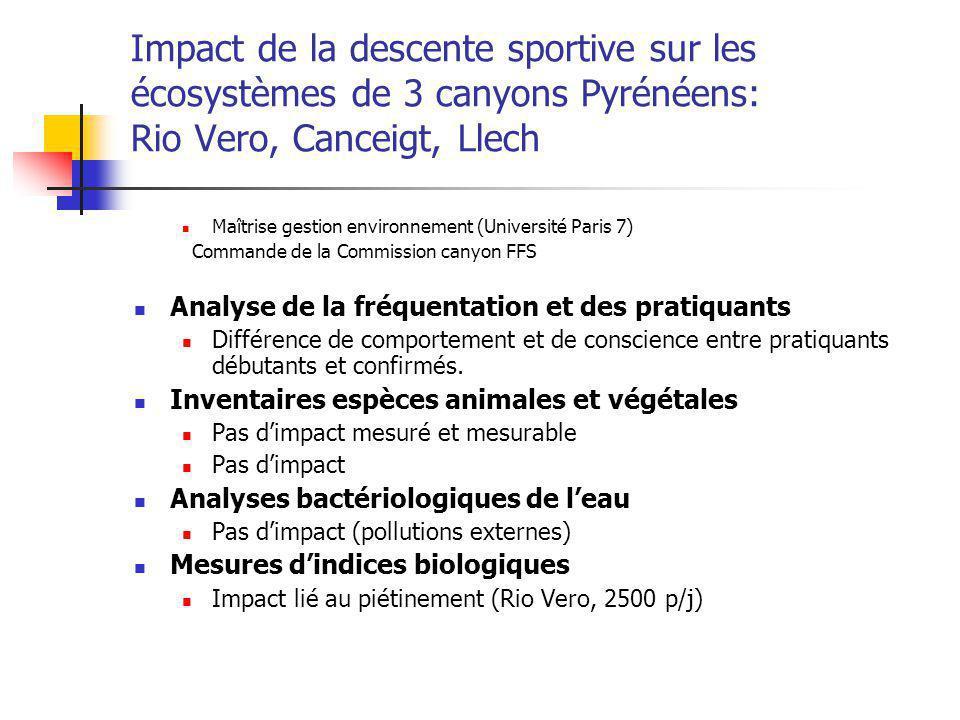 Impact de la descente sportive sur les écosystèmes de 3 canyons Pyrénéens: Rio Vero, Canceigt, Llech Maîtrise gestion environnement (Université Paris