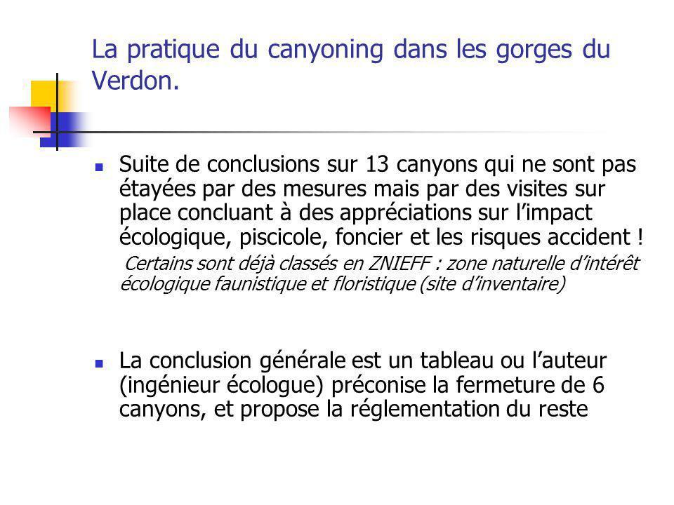 La pratique du canyoning dans les gorges du Verdon. Suite de conclusions sur 13 canyons qui ne sont pas étayées par des mesures mais par des visites s