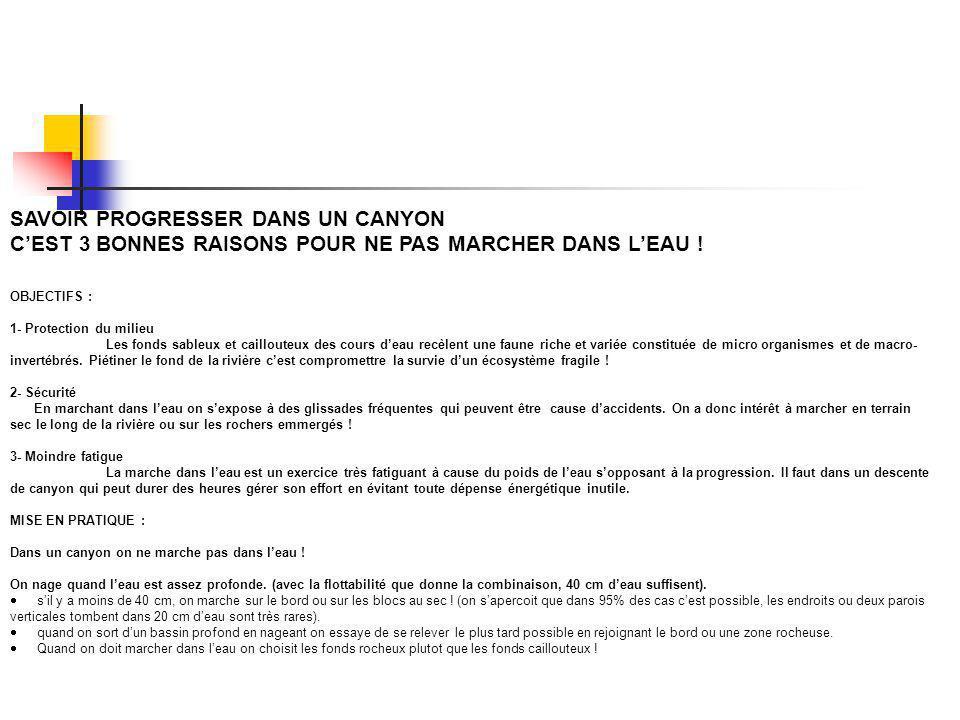 SAVOIR PROGRESSER DANS UN CANYON CEST 3 BONNES RAISONS POUR NE PAS MARCHER DANS LEAU ! OBJECTIFS : 1- Protection du milieu Les fonds sableux et caillo