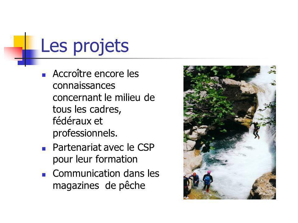 Les projets Accroître encore les connaissances concernant le milieu de tous les cadres, fédéraux et professionnels. Partenariat avec le CSP pour leur