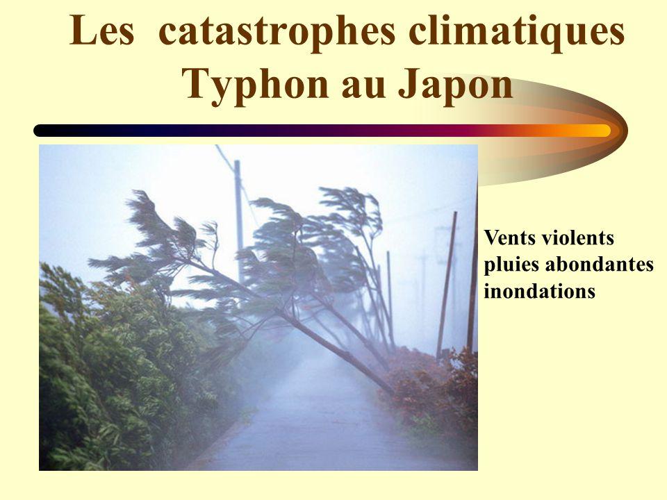 Les catastrophes climatiques Typhon au Japon Vents violents pluies abondantes inondations