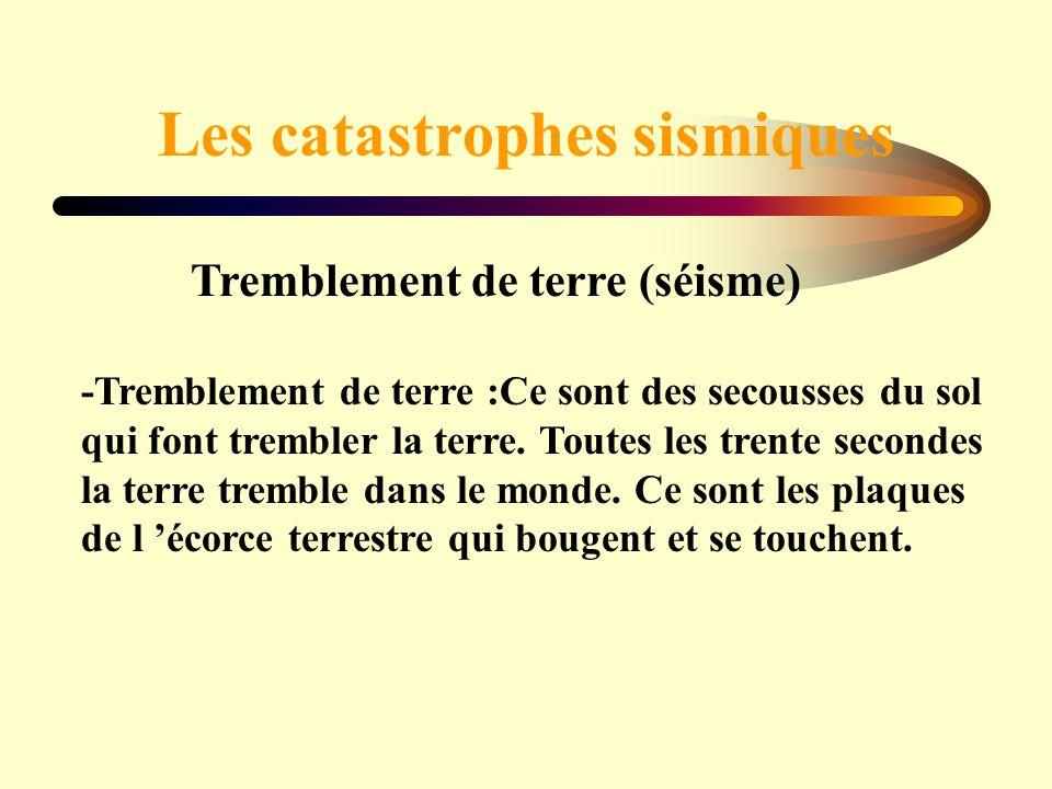 Tremblement de terre (séisme) -Tremblement de terre :Ce sont des secousses du sol qui font trembler la terre. Toutes les trente secondes la terre trem