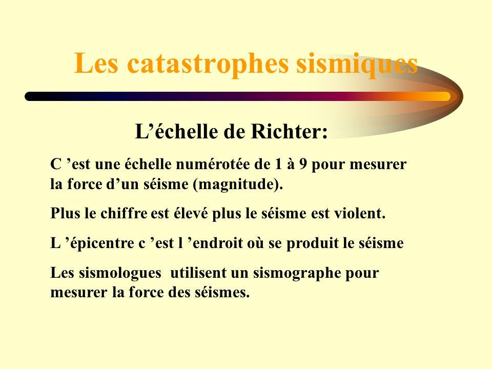 Les catastrophes sismiques Léchelle de Richter: C est une échelle numérotée de 1 à 9 pour mesurer la force dun séisme (magnitude). Plus le chiffre est