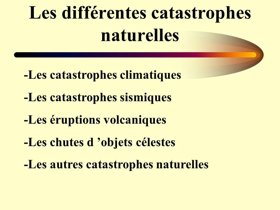 Les différentes catastrophes naturelles -Les catastrophes climatiques -Les catastrophes sismiques -Les éruptions volcaniques -Les chutes d objets céle