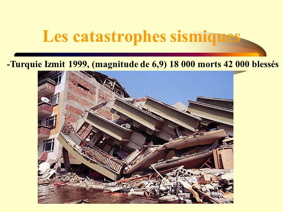 Les catastrophes sismiques -Turquie Izmit 1999, (magnitude de 6,9) 18 000 morts 42 000 blessés
