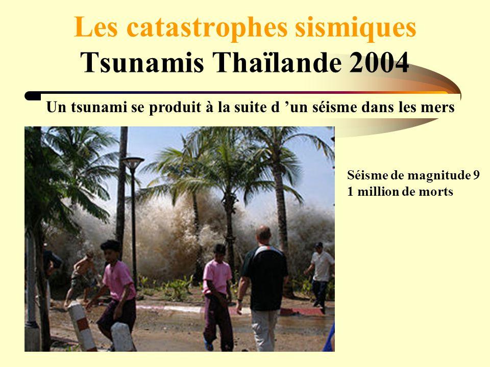 Les catastrophes sismiques Tsunamis Thaïlande 2004 Un tsunami se produit à la suite d un séisme dans les mers Séisme de magnitude 9 1 million de morts