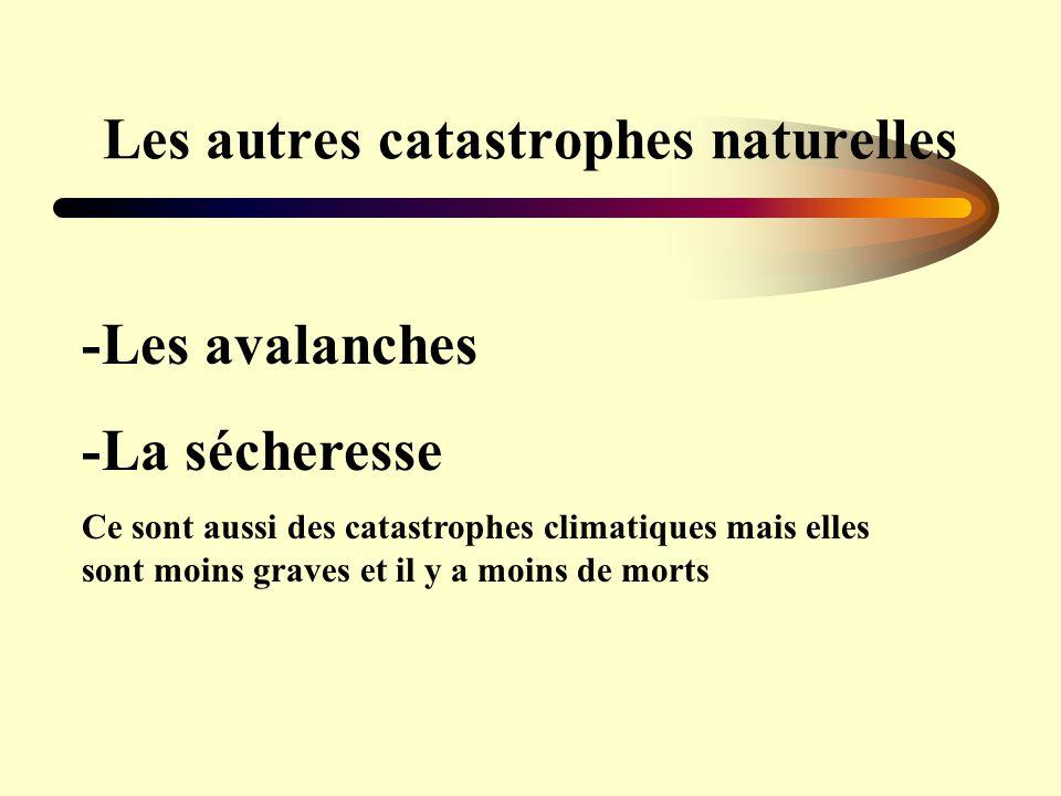 -Les avalanches -La sécheresse Ce sont aussi des catastrophes climatiques mais elles sont moins graves et il y a moins de morts
