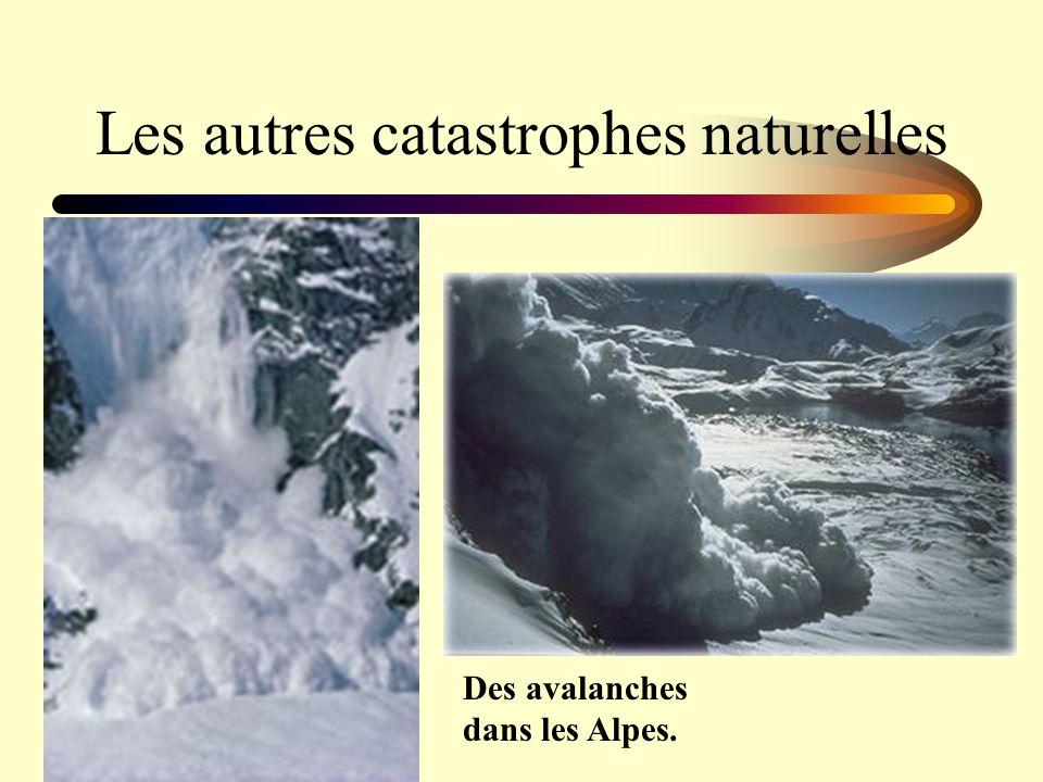 Les autres catastrophes naturelles Des avalanches dans les Alpes.