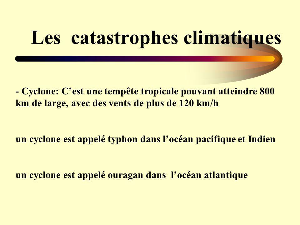 Les catastrophes climatiques - Cyclone: Cest une tempête tropicale pouvant atteindre 800 km de large, avec des vents de plus de 120 km/h un cyclone es