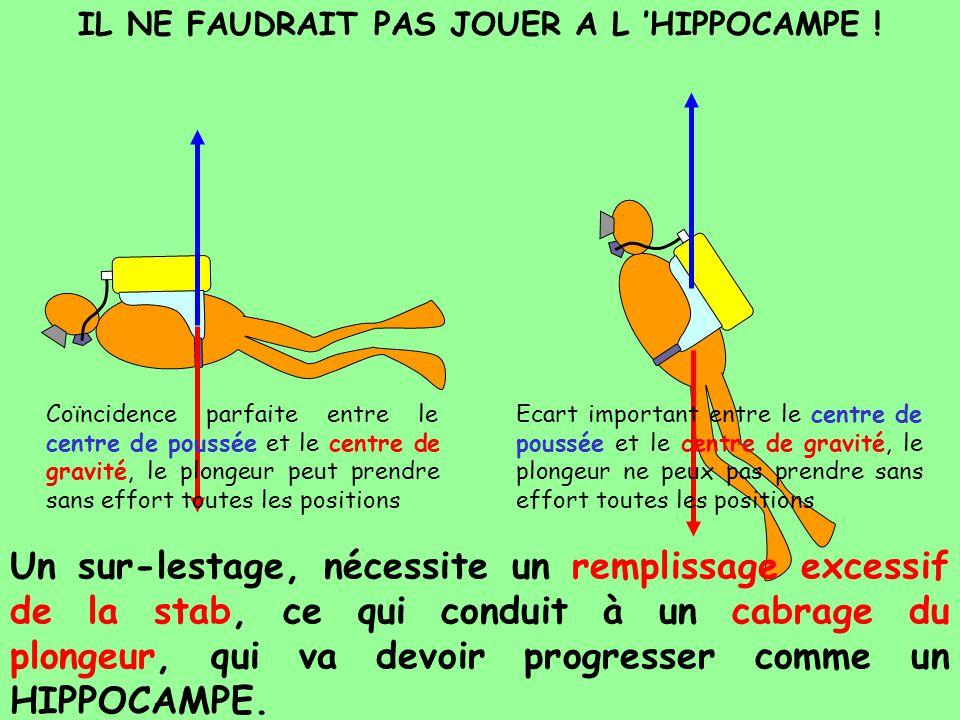 IL NE FAUDRAIT PAS JOUER A L HIPPOCAMPE ! Un sur-lestage, nécessite un remplissage excessif de la stab, ce qui conduit à un cabrage du plongeur, qui v