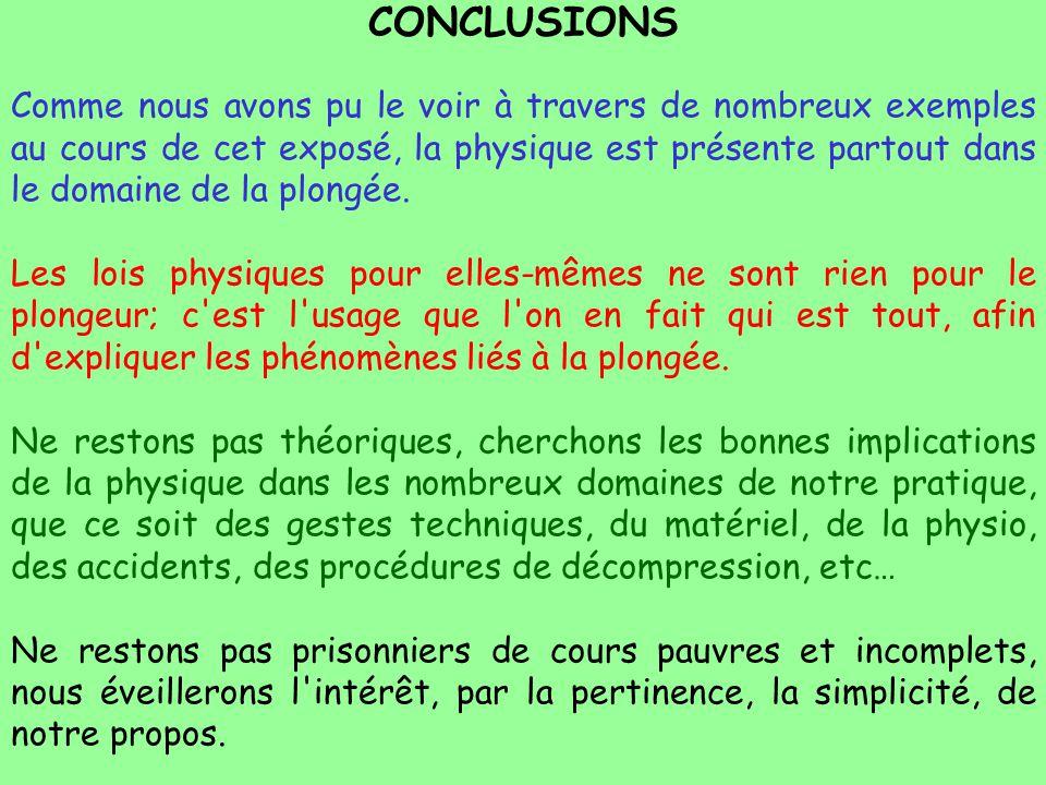 CONCLUSIONS Comme nous avons pu le voir à travers de nombreux exemples au cours de cet exposé, la physique est présente partout dans le domaine de la
