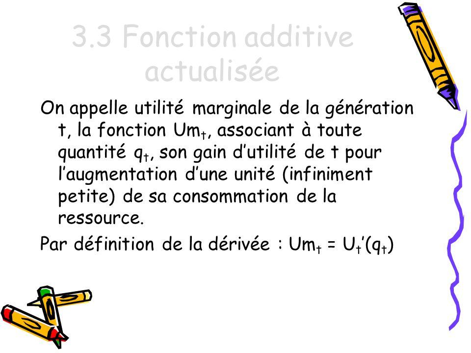 3.3 Fonction additive actualisée On appelle utilité marginale de la génération t, la fonction Um t, associant à toute quantité q t, son gain dutilité de t pour laugmentation dune unité (infiniment petite) de sa consommation de la ressource.