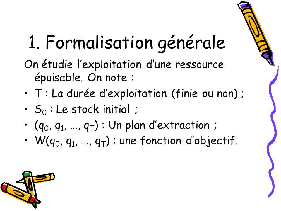 1.Formalisation générale On étudie lexploitation dune ressource épuisable.