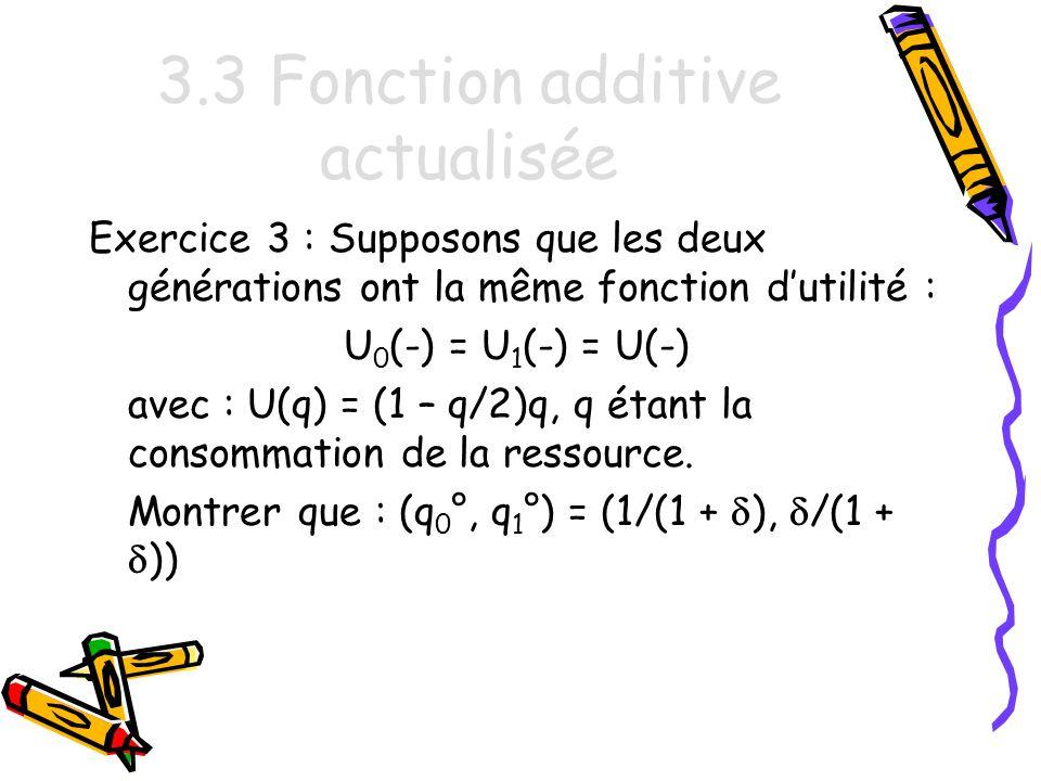 3.3 Fonction additive actualisée Exercice 3 : Supposons que les deux générations ont la même fonction dutilité : U 0 (-) = U 1 (-) = U(-) avec : U(q) = (1 – q/2)q, q étant la consommation de la ressource.