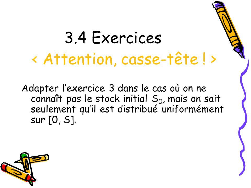3.4 Exercices Adapter lexercice 3 dans le cas où on ne connaît pas le stock initial S 0, mais on sait seulement quil est distribué uniformément sur [0, S].