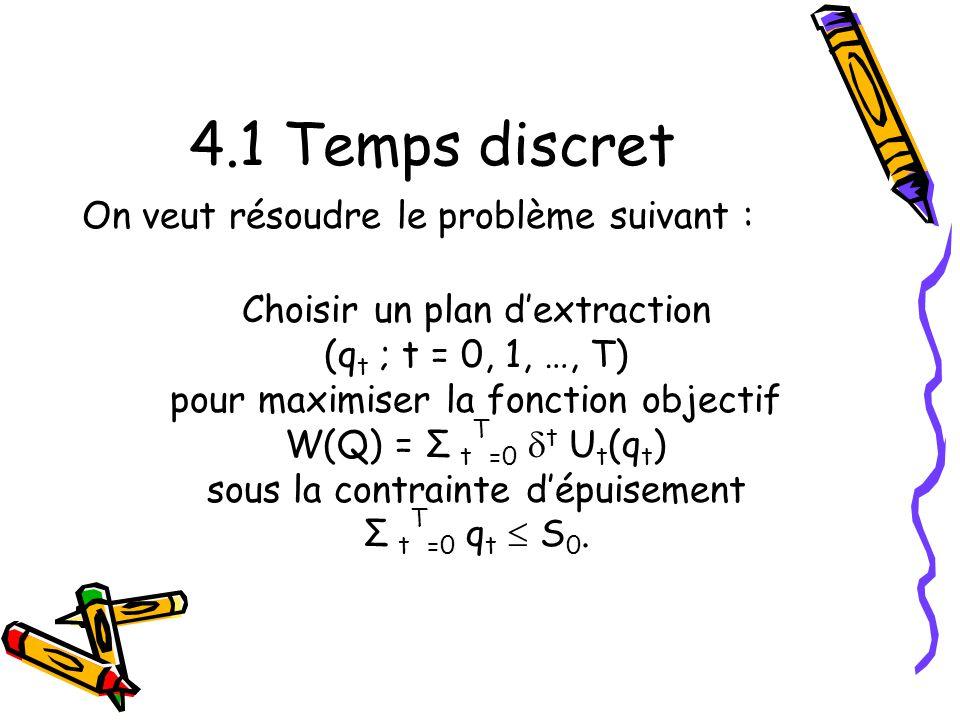 4.1 Temps discret On veut résoudre le problème suivant : Choisir un plan dextraction (q t ; t = 0, 1, …, T) pour maximiser la fonction objectif W(Q) = Σ t T =0 t U t (q t ) sous la contrainte dépuisement Σ t T =0 q t S 0.
