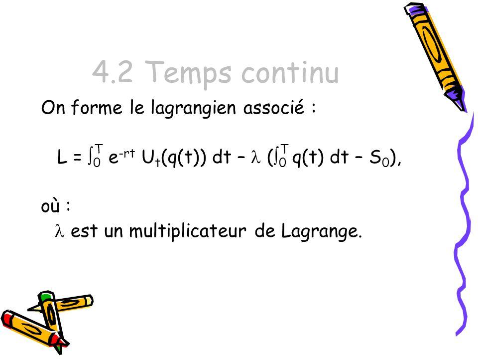 4.2 Temps continu On forme le lagrangien associé : L = 0 T e -rt U t (q(t)) dt – ( 0 T q(t) dt – S 0 ), où : est un multiplicateur de Lagrange.