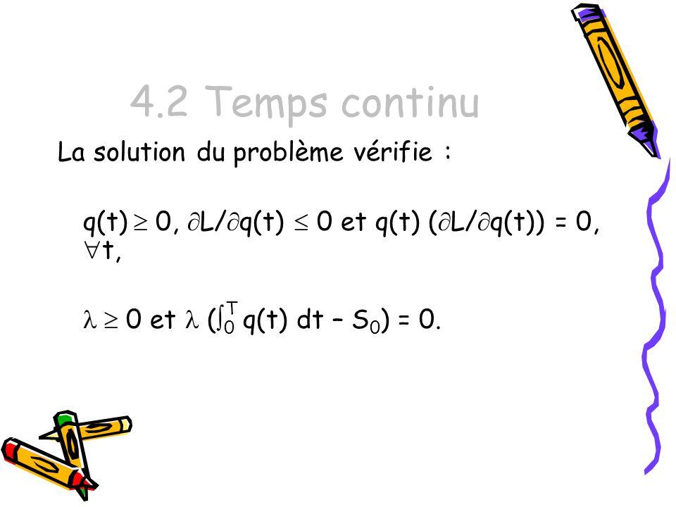 4.2 Temps continu La solution du problème vérifie : q(t) 0, L/ q(t) 0 et q(t) ( L/ q(t)) = 0, t, 0 et ( 0 T q(t) dt – S 0 ) = 0.