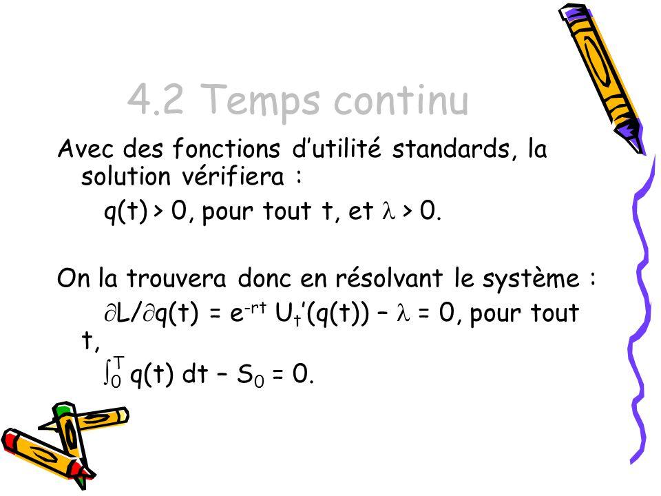 4.2 Temps continu Avec des fonctions dutilité standards, la solution vérifiera : q(t) > 0, pour tout t, et > 0.