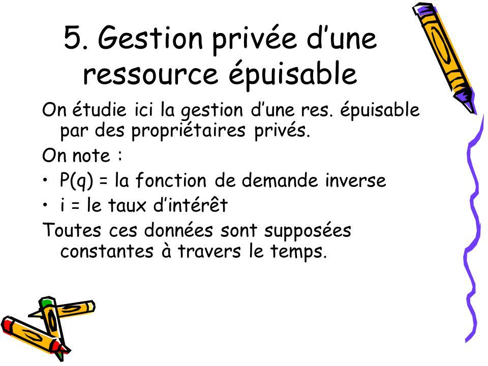 5.Gestion privée dune ressource épuisable On étudie ici la gestion dune res.