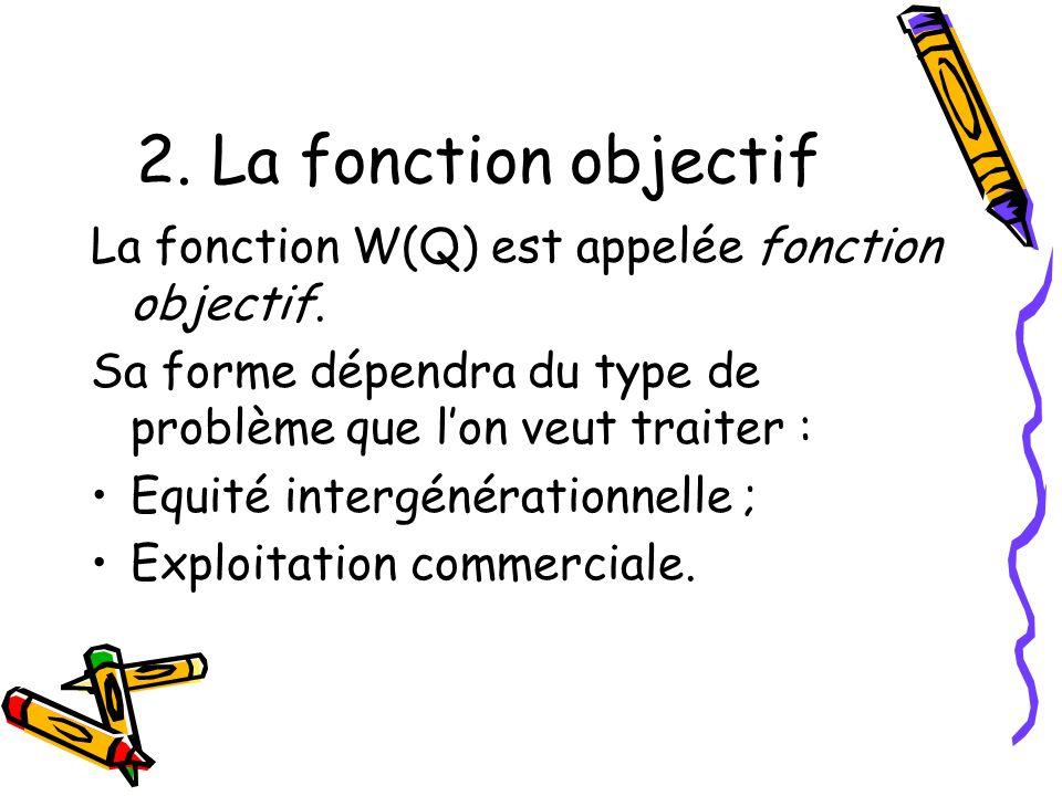3.2 Fonction Maximin Exercice 1 : Supposons que les deux générations aient pour fonctions dutilité : U 0 (q 0 ) = 5 (1 – q 0 /2) q 0, U 1 (q 1 ) = 8 (1 – q 1 /2) q 1.