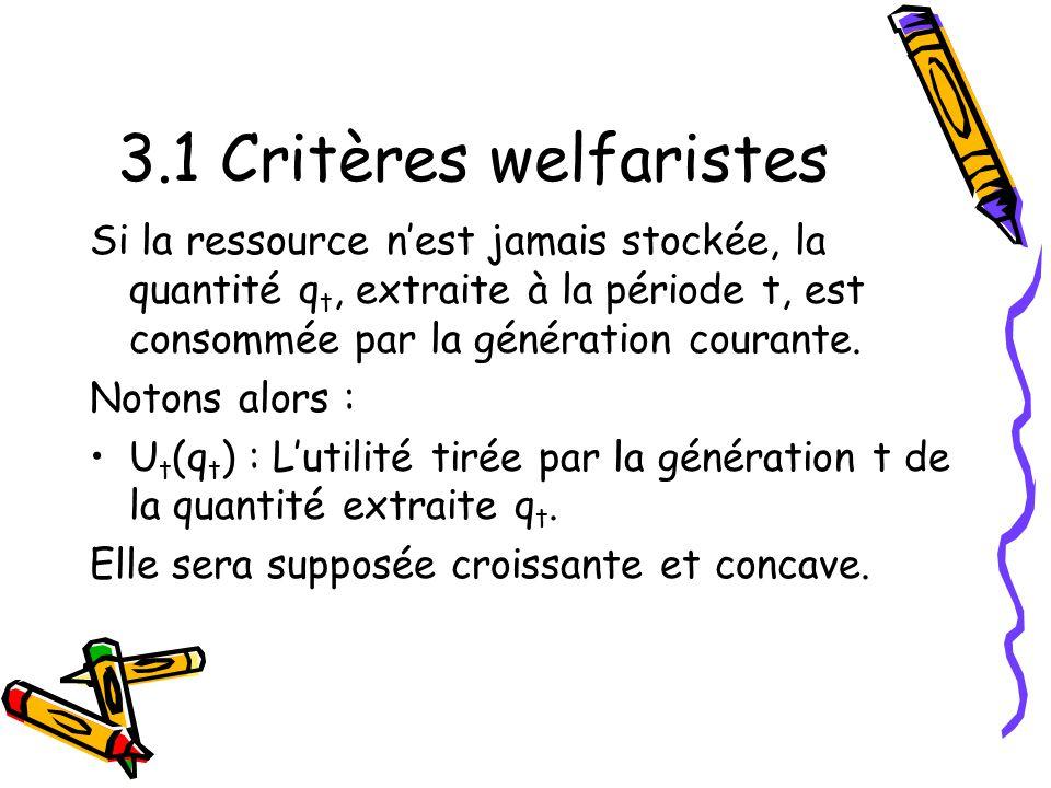 3.1 Critères welfaristes Si la ressource nest jamais stockée, la quantité q t, extraite à la période t, est consommée par la génération courante.