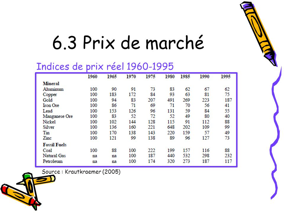 6.3 Prix de marché Source : Krautkraemer (2005) Indices de prix réel 1960-1995