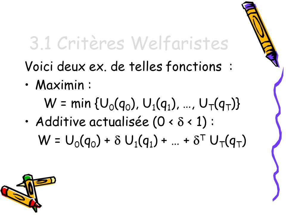 4.2 Temps continu On veut résoudre le problème suivant : Choisir un plan dextraction (q(t) ; t 0) pour maximiser la fonction objectif W(Q) = 0 T e -rt U t (q(t)) dt sous la contrainte dépuisement 0 T q(t) dt S 0.