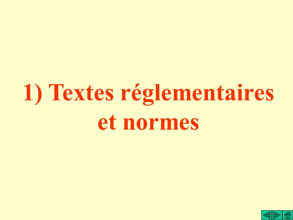 1) Textes réglementaires et normes
