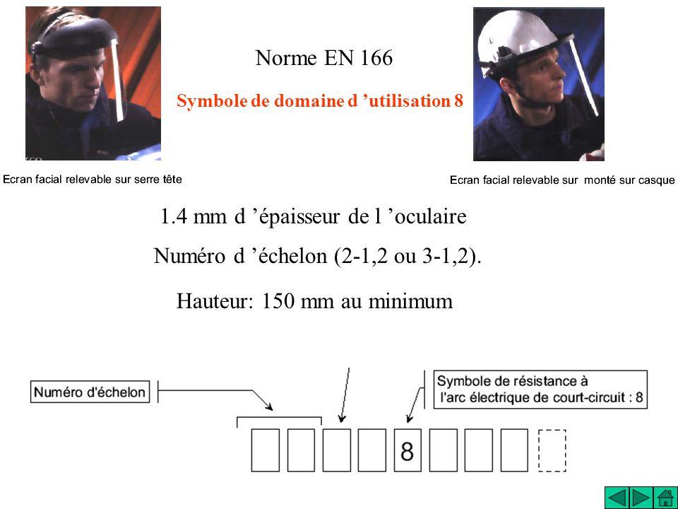 Norme EN 166 Symbole de domaine d utilisation 8 1.4 mm d épaisseur de l oculaire Numéro d échelon (2-1,2 ou 3-1,2). Hauteur: 150 mm au minimum