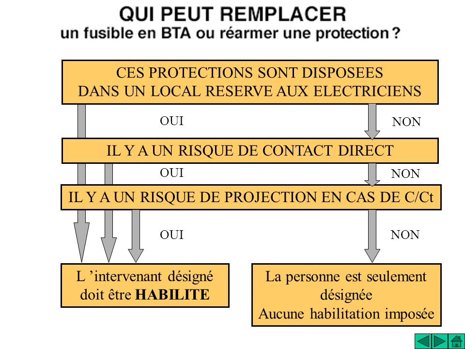 OUI CES PROTECTIONS SONT DISPOSEES DANS UN LOCAL RESERVE AUX ELECTRICIENS IL Y A UN RISQUE DE CONTACT DIRECT IL Y A UN RISQUE DE PROJECTION EN CAS DE