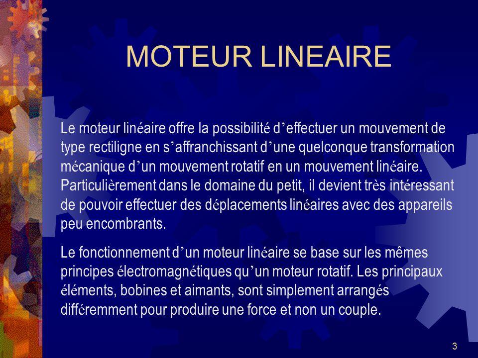 3 Le moteur lin é aire offre la possibilit é d effectuer un mouvement de type rectiligne en s affranchissant d une quelconque transformation m é canique d un mouvement rotatif en un mouvement lin é aire.