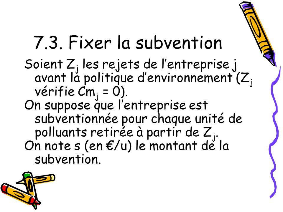 7.3. Fixer la subvention Soient Z j les rejets de lentreprise j avant la politique denvironnement (Z j vérifie Cm j = 0). On suppose que lentreprise e