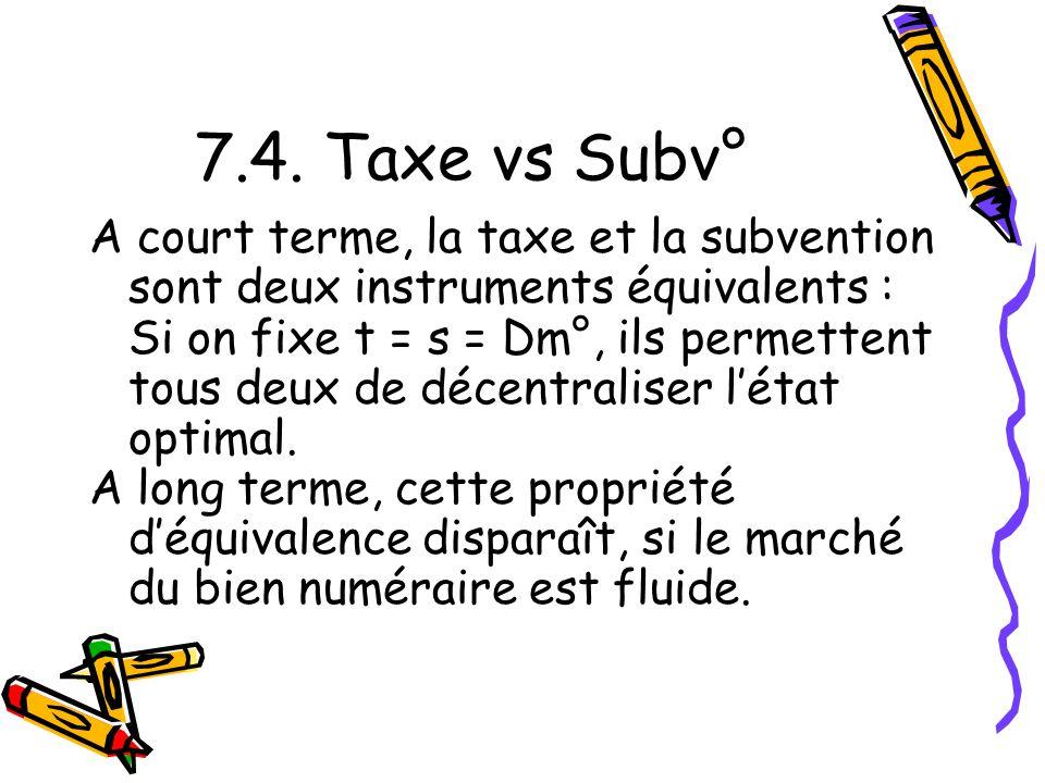 7.4. Taxe vs Subv° A court terme, la taxe et la subvention sont deux instruments équivalents : Si on fixe t = s = Dm°, ils permettent tous deux de déc