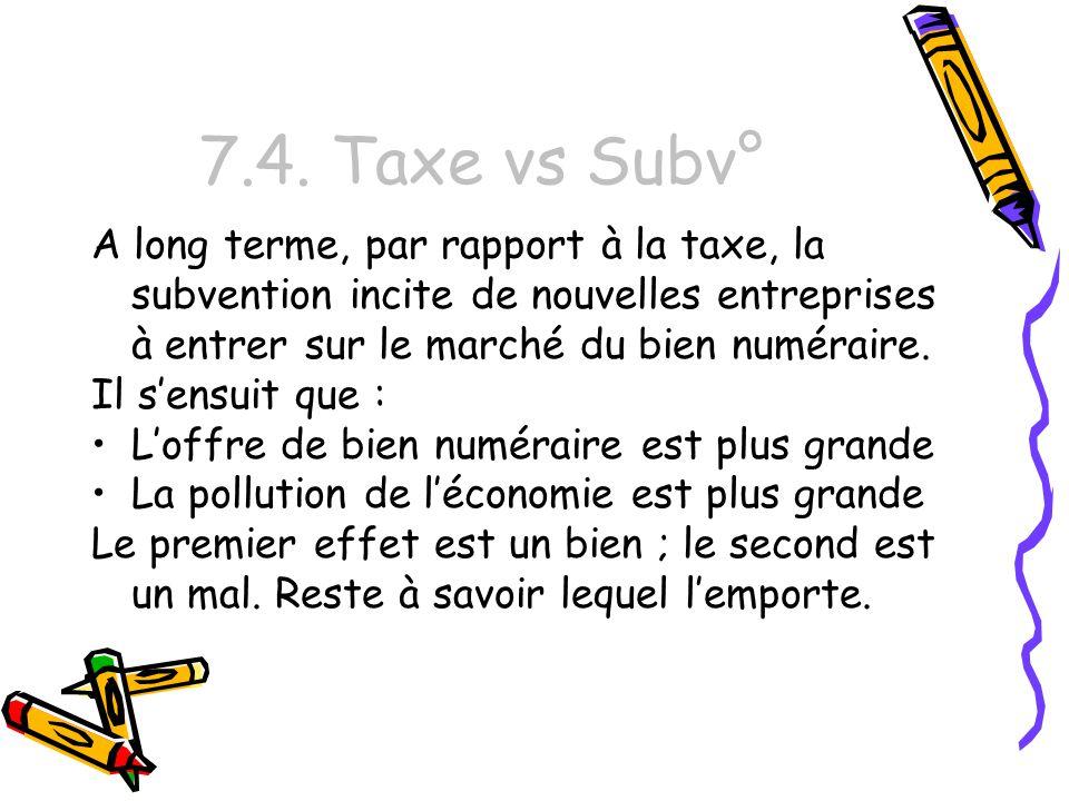 7.4. Taxe vs Subv° A long terme, par rapport à la taxe, la subvention incite de nouvelles entreprises à entrer sur le marché du bien numéraire. Il sen