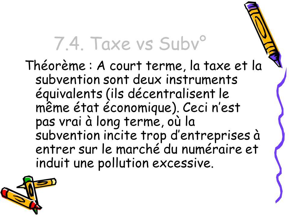7.4. Taxe vs Subv° Théorème : A court terme, la taxe et la subvention sont deux instruments équivalents (ils décentralisent le même état économique).