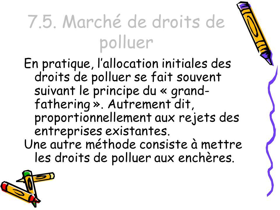 7.5. Marché de droits de polluer En pratique, lallocation initiales des droits de polluer se fait souvent suivant le principe du « grand- fathering ».