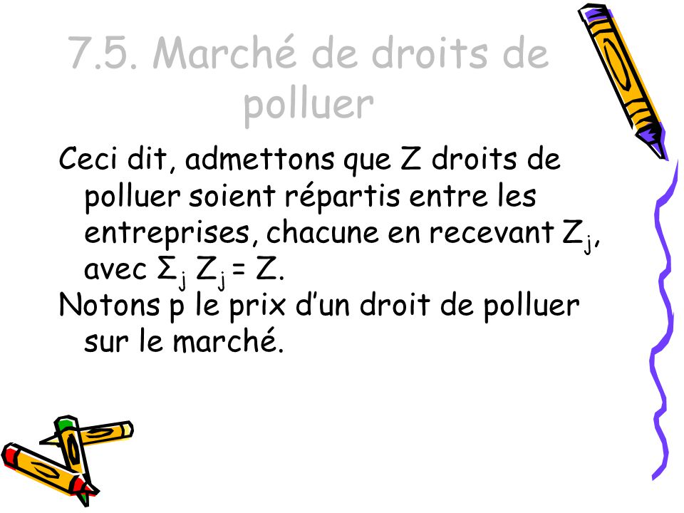 7.5. Marché de droits de polluer Ceci dit, admettons que Z droits de polluer soient répartis entre les entreprises, chacune en recevant Z j, avec Σ j
