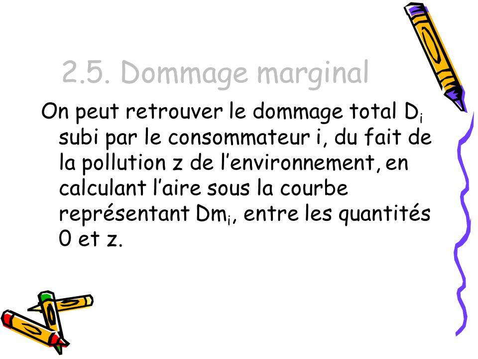2.5. Dommage marginal On peut retrouver le dommage total D i subi par le consommateur i, du fait de la pollution z de lenvironnement, en calculant lai